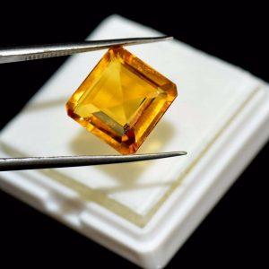 """אבן חן: סיטרין מלוטש לשיבוץ (ברזיל) 14.60 קרט מידות: 7*14*15 מ""""מ"""