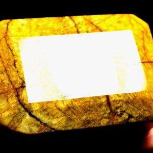 """אבן חן: בריל צהוב גדול מלוטש (אפגניסטן) מהמם תעודה 2144 קרט מידות: 45*55*80 מ""""מ"""