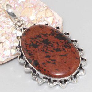 תליון בשיבוץ אבן אובסדיאן מהגוני כסף 925