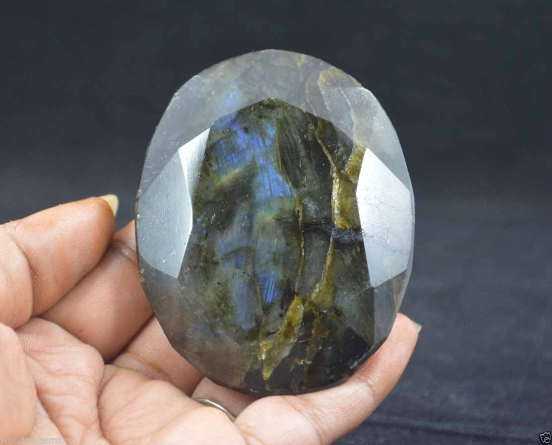 אבן חן: לברדורייט מלוטש גדול (אפריקה) תעודה 843 קרט