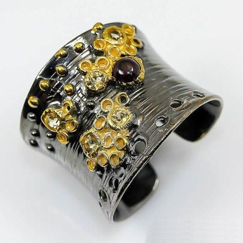 טבעת כסף בשיבוץ אבני רודונייט וסיטרין תכשיט יוקרה עבודת יד