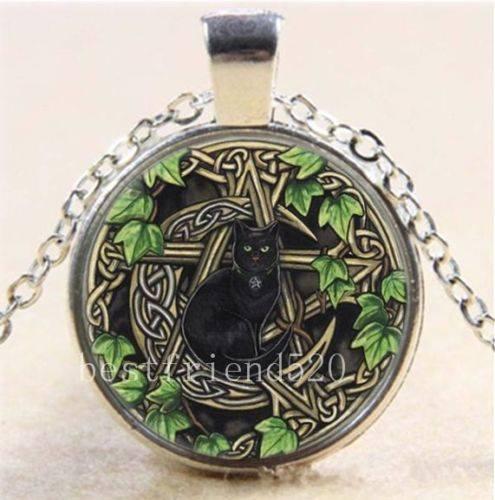 תליון ויקה מוכסף פנטגרם בשילוב ירח וחתול שחור אנרגיית צמחים ונשיות