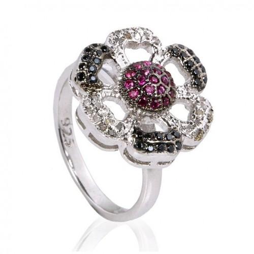 טבעת כסף 925 בשיבוץ יהלומי גלם 1.58 קרט וזירקונים שחור ואדום מידה: 7