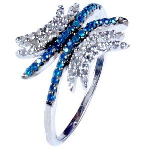 טבעת כסף 925 בשיבוץ יהלומי גלם 1.46 קרט וזירקונים כחול מידה: 7