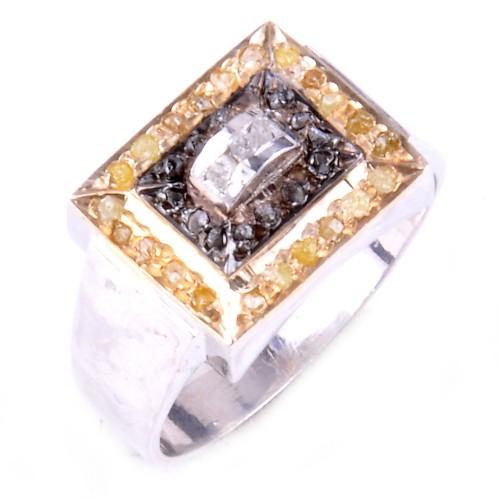 טבעת כסף 925 בשיבוץ יהלומי גלם זהובים ולבנים 0.80 קרט וזירקון מידה: 9