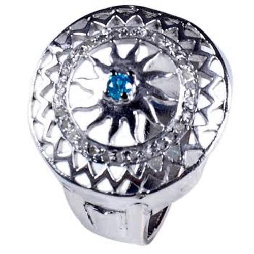 טבעת כסף 925 בשיבוץ יהלומי גלם 0.73 קרט וזירקון כחול מידה: 7.5