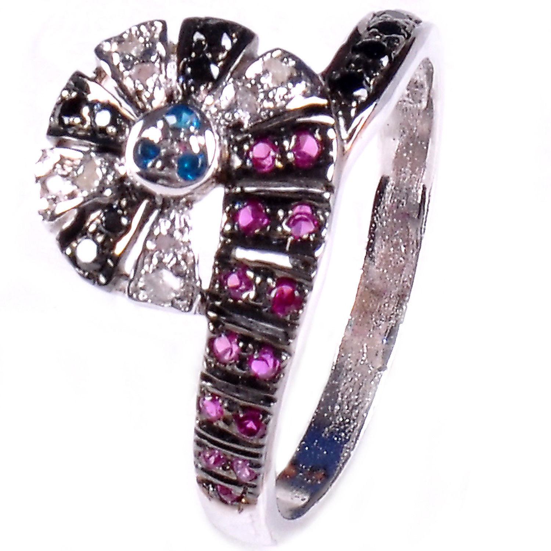 טבעת כסף 925 בשיבוץ יהלומי גלם 0.69 קרט וזירקונים כחול אדום מידה: 7.5