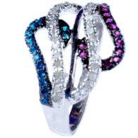 טבעת כסף 925 בשיבוץ יהלומי גלם 1.14 קרט וזירקונים מידה 7