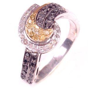 טבעת כסף 925 בשיבוץ יהלומי גלם לבן וזהוב 0.83 קרט וזירקונים שחור מידה: 7.25