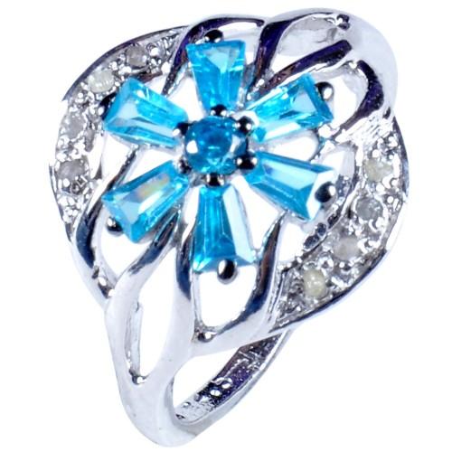 טבעת כסף 925 בשיבוץ יהלומי גלם 0.37 קרט וזירקונים כחול מידה: 7