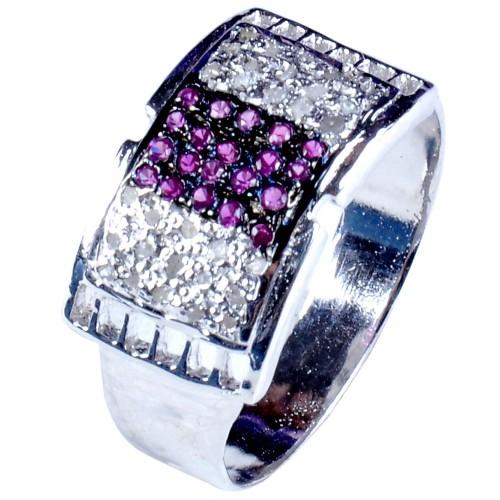 טבעת כסף 925 בשיבוץ יהלומי גלם 0.99 קרט וזירקונים גוון סגול מידה: 9