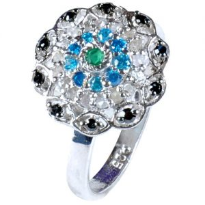 טבעת כסף 925 בשיבוץ יהלומי גלם 0.73 קרט וזירקונים מידה: 7