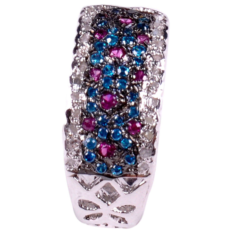 טבעת כסף 925 בשיבוץ יהלומי גלם 1.44 קרט וזירקונים כחול אדום מידה: 7