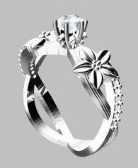 טבעת כסף 925 בשיבוץ יהלומי גלם וזירקון מרכזי 0.69 קרט מידה: 7