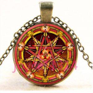 תכשיט תליון ויקה ברונזה עיצוב פנטגרם אלמנט האש וחרבות גווני כתום אדום