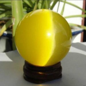 """כדור עין החתול קוורץ צהבהב קוטר: 40 מ""""מ"""