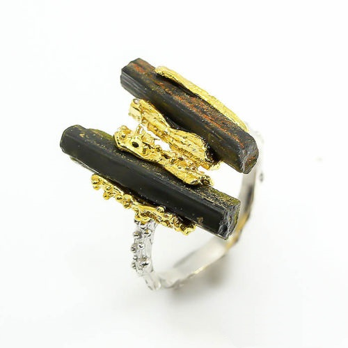 טבעת כסף 925 בשיבוץ אבני טורמלין שחור תכשיט יוקרה עבודת יד