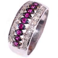 טבעת כסף 925 בשיבוץ יהלומי גלם 0.58 קרט וזירקונים סגול מידה: 7