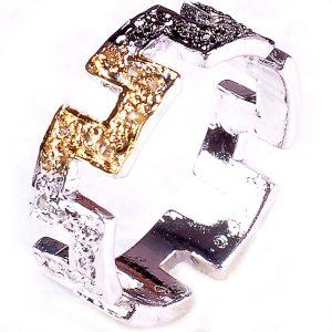 טבעת כסף 925 בשיבוץ יהלומי גלם לבנים וזהובים 0.48 קרט מידה: 7.5