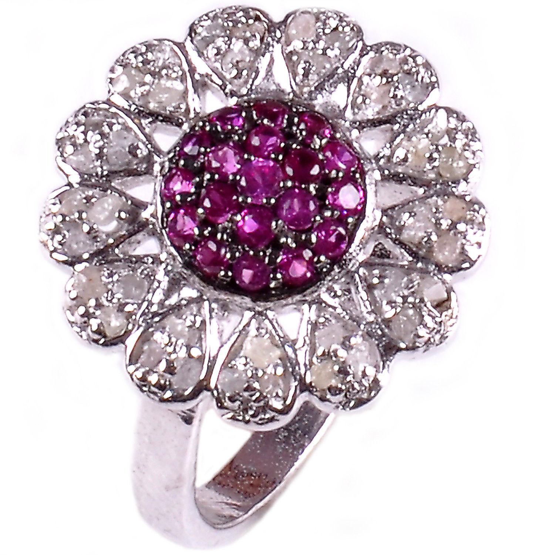 טבעת כסף 925 בשיבוץ יהלומי גלם 1.16 קרט וזירקונים סגול