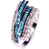 טבעת כסף בשיבוץ יהלומי גלם 1.00 קרט וזירקונים כחול מידה: 7.5