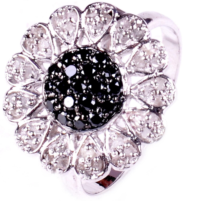 טבעת כסף בשיבוץ יהלומי גלם לבן ושחור 1.15 קרט מידה: 7