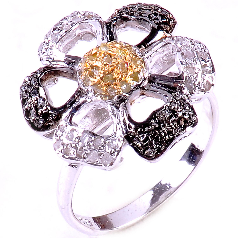 טבעת כסף בשיבוץ יהלומי גלם לבנים ויהלומי גלם זהובים 1.56 קרט מידה: 7.5