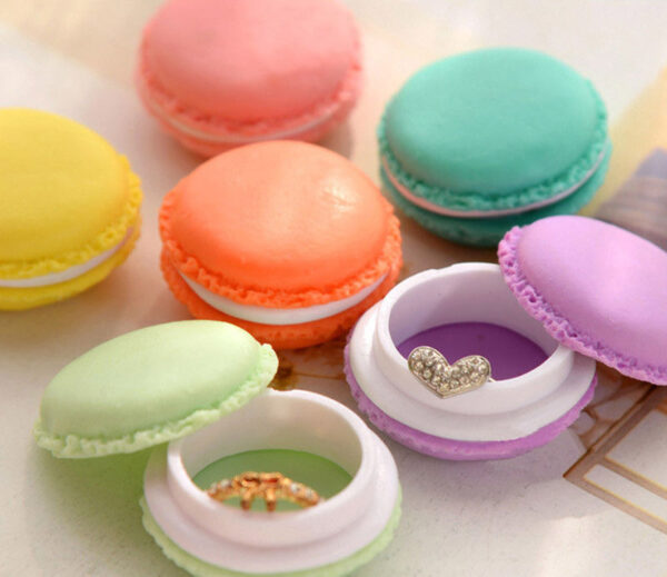 קופסאות תכשיטים דגם מקרון בצבעים - 6 יחידות