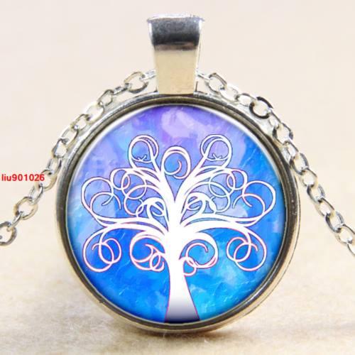 עץ החיים תליון ושרשרת מוכסף גווני כחול לבן