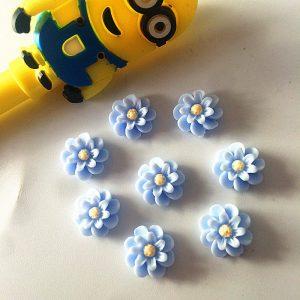 פרחים לעבודת יד להדבקה גווני תכלת צהוב 20 יחידות