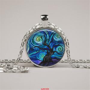 סמל עץ החיים גווני כחול ירוק תליון ושרשרת מוכסף
