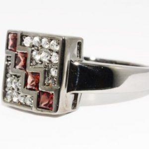 טבעת יוקרה כסף בשיבוץ זירקון אדום וטופז לבן מידה: 10