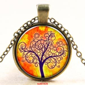 עץ החיים תליון ושרשרת ברונזה גווני כתום צהוב