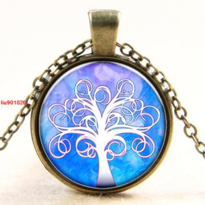עץ החיים תליון ושרשרת ברונזה גווני לבן וכחול סגול