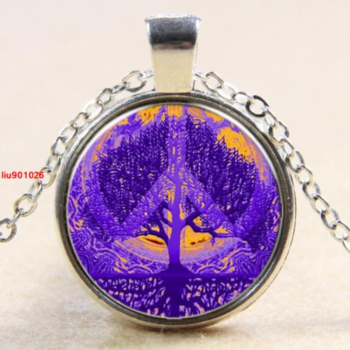 עץ החיים תליון ושרשרת מוכסף וסמל השלום גווני סגול וכתום