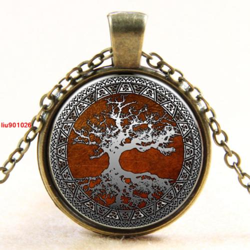 עץ החיים תליון ושרשרת ברונזה גווני לבן חום אדום