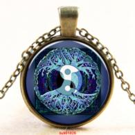 עץ החיים תליון ושרשרת ברונזה וסמל יין ויאנג גווני כחול