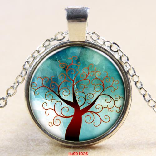 עץ החיים תליון ושרשרת מוכסף גווני חום ירוק
