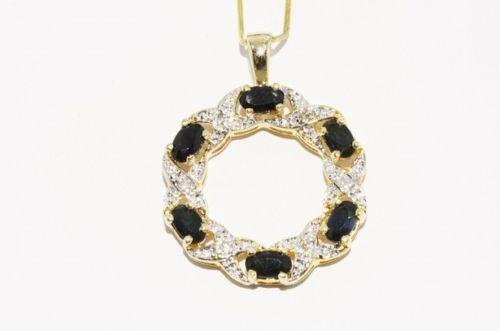 תכשיט יוקרה תליון כסף וציפוי זהב בשיבוץ יהלומים וספירים 1.86 קרט