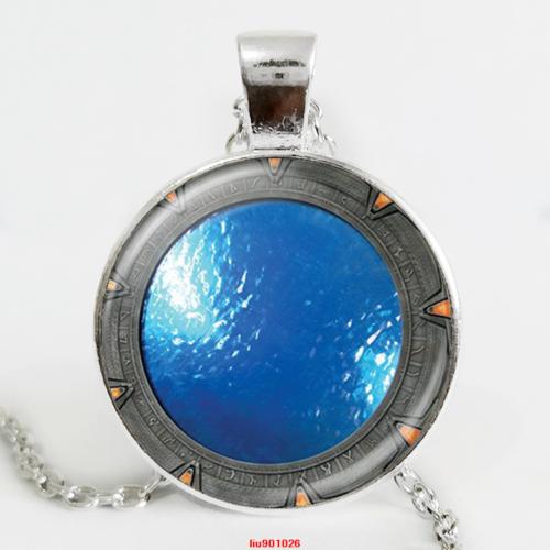סטארגייט הפתח לאטלנטיס תליון ושרשרת מוכסף גווני כחול גווני כחול