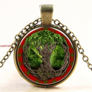 עץ החיים תליון ושרשרת ברונזה גווני ירוק אדום