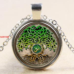 עץ החיים תליון ושרשרת ברונזה גווני ירוק חום