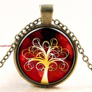 סמל עץ החיים גווני אדום כתום תליון ושרשרת ברונזה