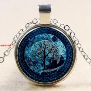 עץ החיים תליון ושרשרת ברונזה גווני כחול