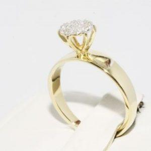 טבעת זהב צהוב 10 קרט בשיבוץ 7 יהלומים מידה: 5