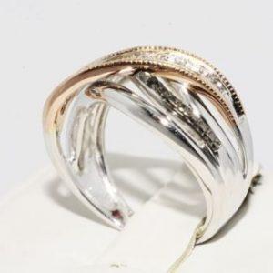 טבעת כסף 925 וזהב אדום 10 קרט בשיבוץ יהלומים מידה: 7