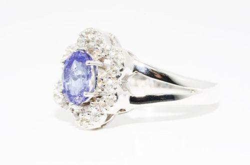 טבעת יוקרה כסף 925 בשיבוץ טנזנייט משובח כחול סגול וטופז לבן מידה: 6.25
