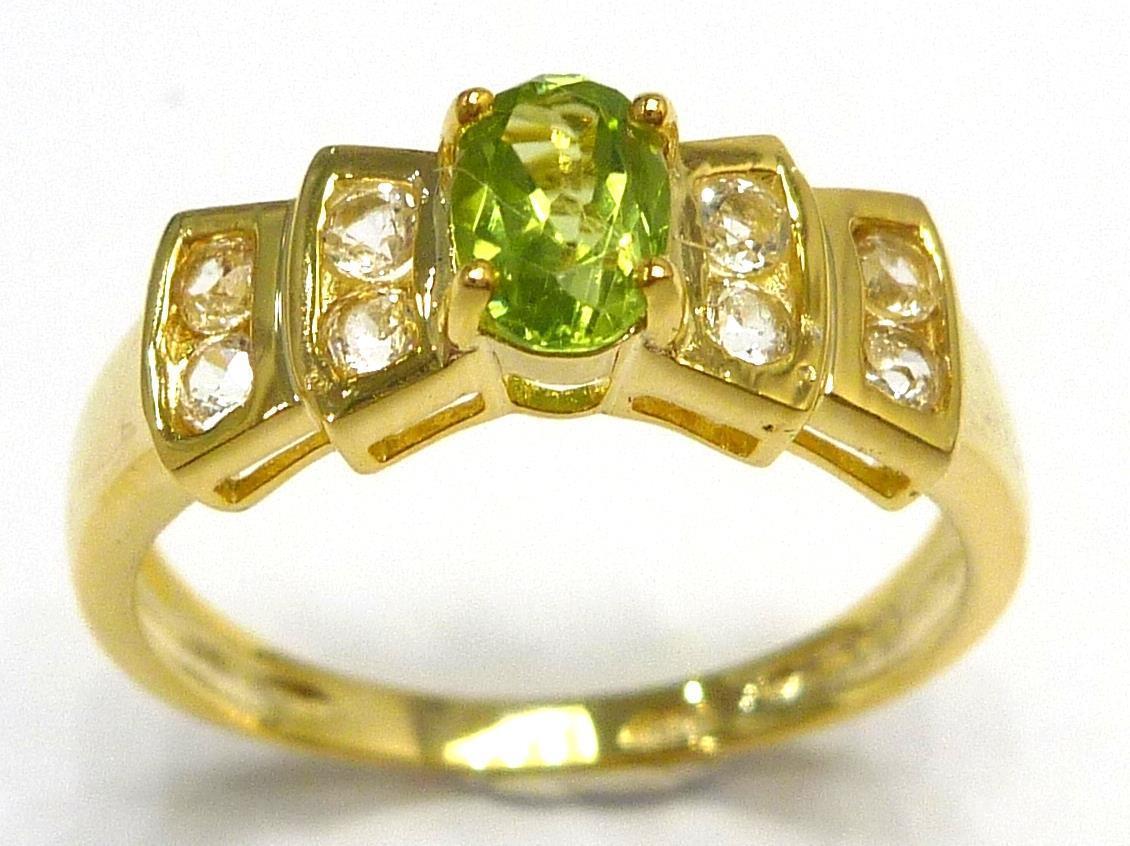 טבעת כסף 925 ציפוי זהב 14 קרט בשיבוץ פרידות וטופז לבן מידה: 7