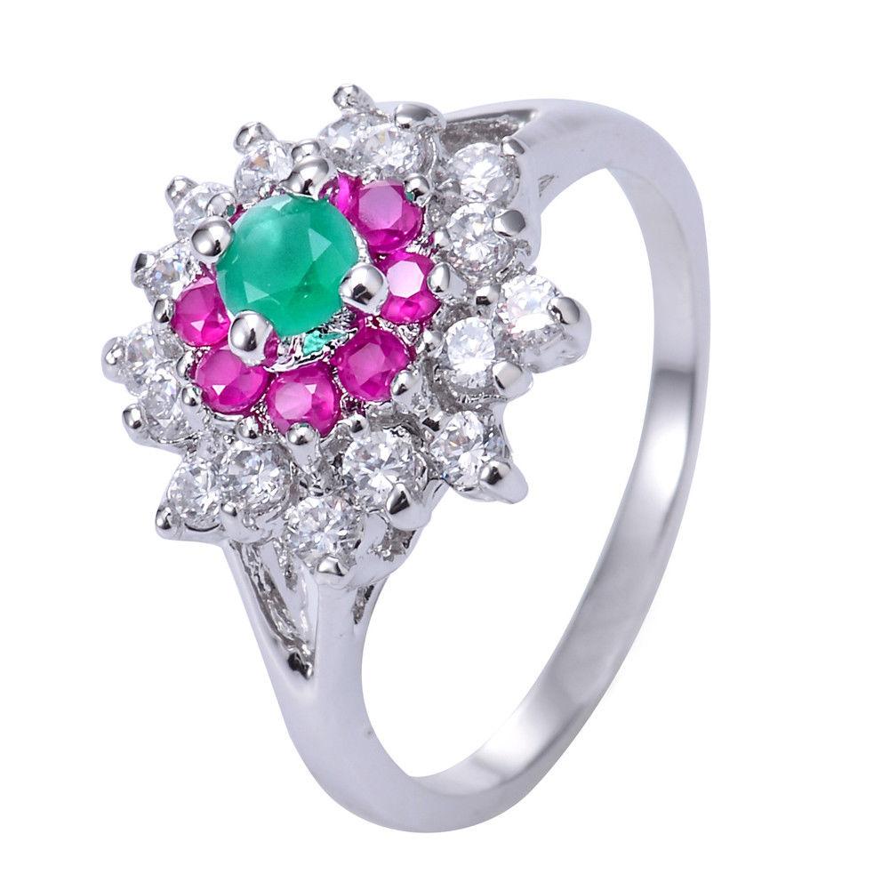 טבעת כסף בשיבוץ רובי, אמרלד וטופז לבן מידה: 7