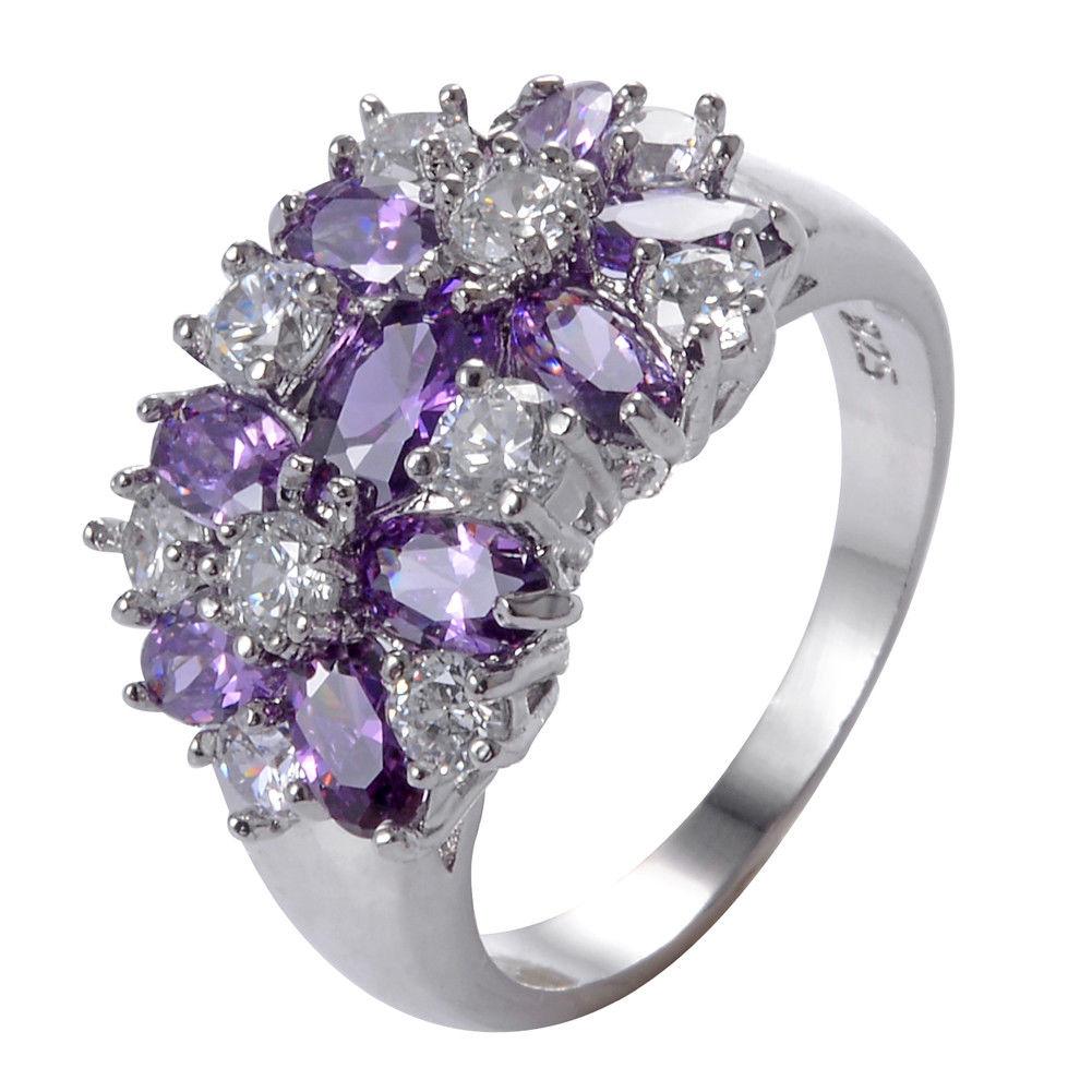 טבעת יוקרה כסף בשיבוץ אמטיסט וזירקונים מידה: 11